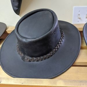 Full leather cowboy hat